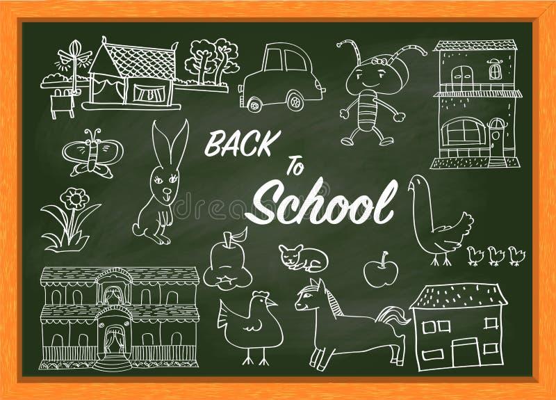 Χέρι που επισύρει την προσοχή στον πράσινο πίνακα κιμωλίας με το κείμενο ΠΙΣΩ στο σχολείο-διάνυσμα απεικόνιση αποθεμάτων