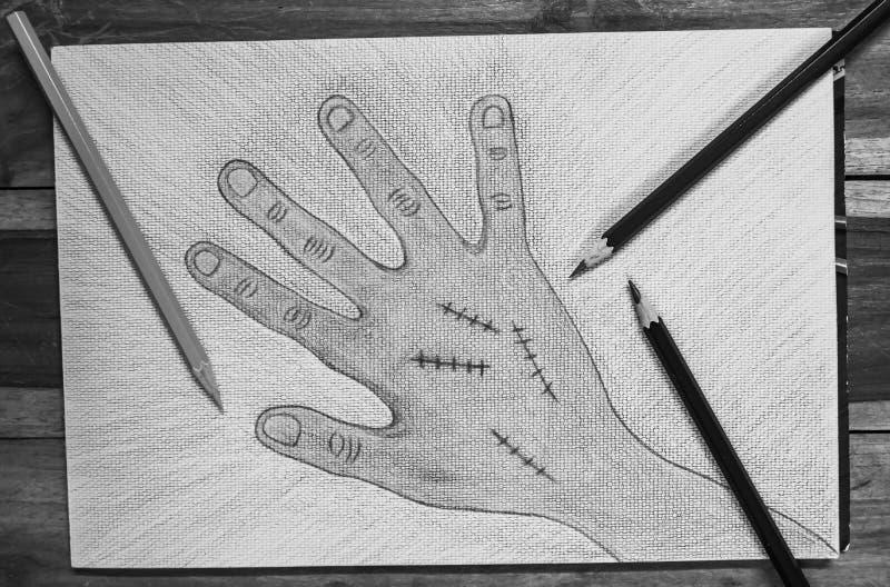 Χέρι που επισύρεται την προσοχή δεξί με τη συρραφή πληγών στο υπόβαθρο της Λευκής Βίβλου, έννοια αποκριών διανυσματική απεικόνιση