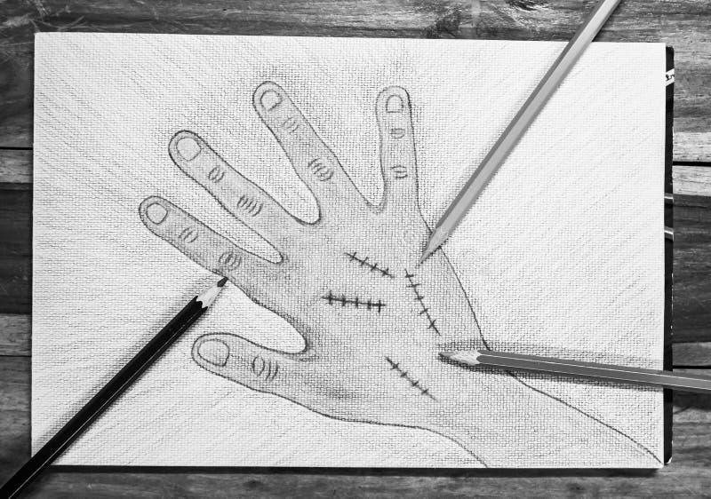 Χέρι που επισύρεται την προσοχή δεξί με τη συρραφή πληγών στο υπόβαθρο της Λευκής Βίβλου, έννοια αποκριών απεικόνιση αποθεμάτων