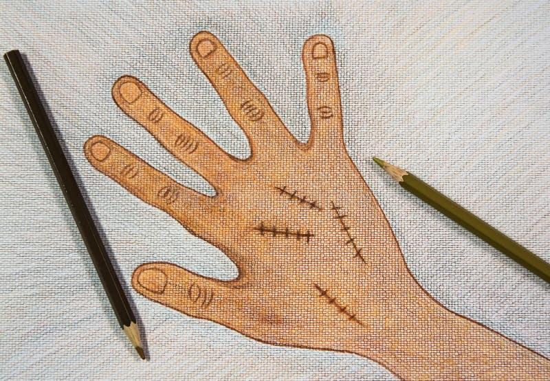 Χέρι που επισύρεται την προσοχή δεξί με τη χειρουργική συρραφή πληγών από τα ξύλινα μολύβια χρώματος στο υπόβαθρο της Λευκής Βίβλ διανυσματική απεικόνιση