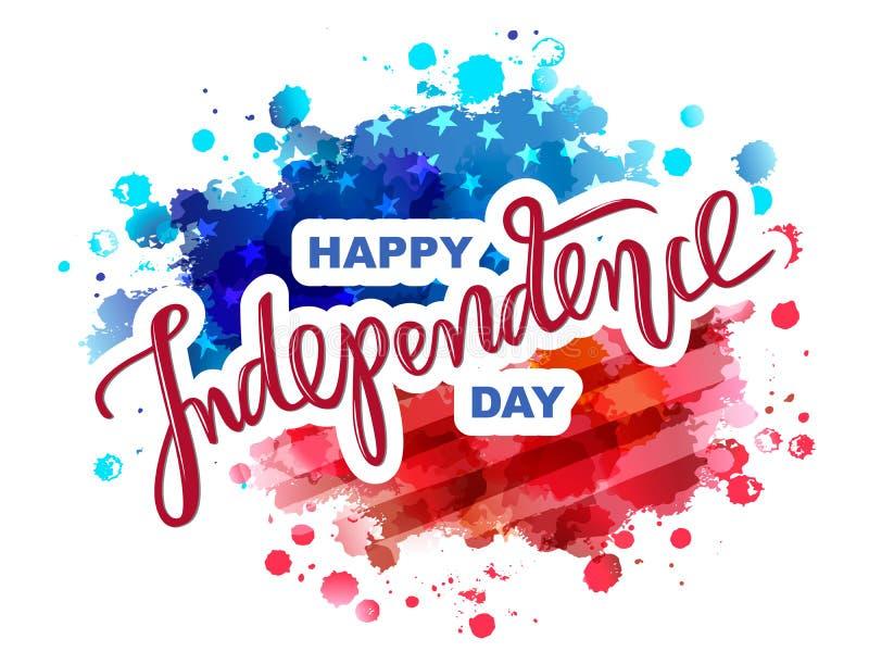 Χέρι που επισύρεται την προσοχή ευτυχής ημέρα της ανεξαρτησίας στο υπόβαθρο σημαιών watercolor απεικόνιση αποθεμάτων