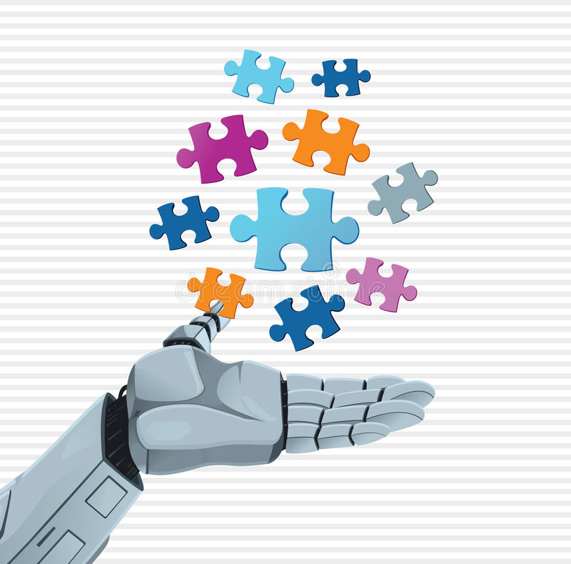 Χέρι και γρίφος ρομπότ διανυσματική απεικόνιση