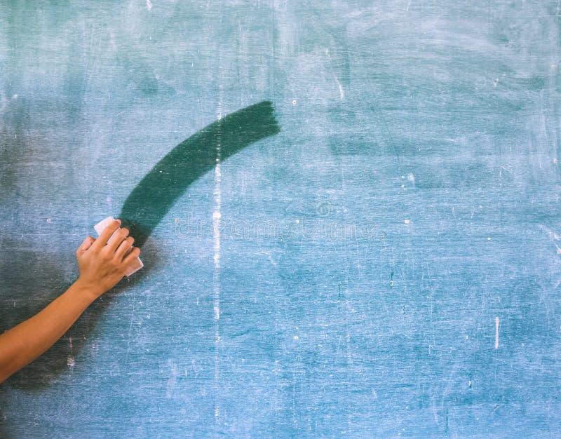 Χέρι που καθαρίζει τον πίνακα κιμωλίας στοκ εικόνα με δικαίωμα ελεύθερης χρήσης