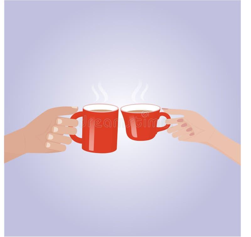 Χέρι που κρατά έναν κόκκινο καφέ φλυτζανιών στοκ εικόνες με δικαίωμα ελεύθερης χρήσης