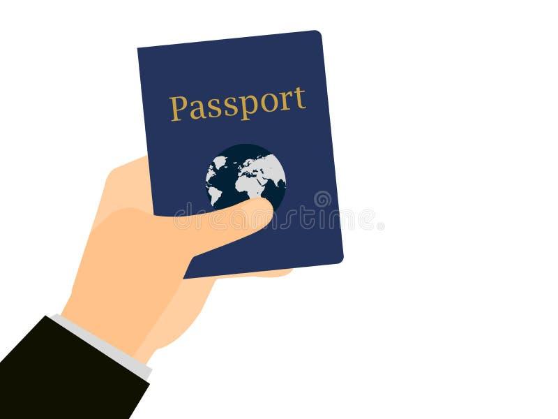 Χέρι που κρατά ένα διαβατήριο στο απομονωμένο άσπρο υπόβαθρο Το έγγραφο για το ταξίδι, αποδημία στο εξωτερικό διάνυσμα διανυσματική απεικόνιση