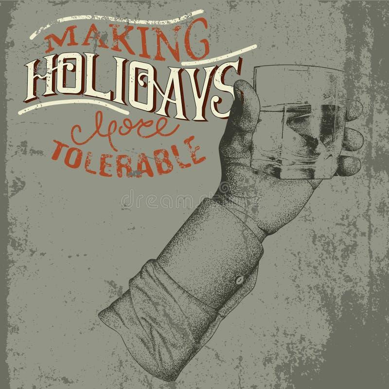 Χέρι που κρατά ένα ποτήρι του οινοπνευματώδους ποτού απεικόνιση αποθεμάτων