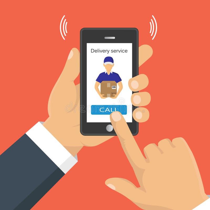 Χέρι που κρατά ένα τηλέφωνο, που καλεί μέσα τη παροχή υπηρεσιών ελεύθερη απεικόνιση δικαιώματος