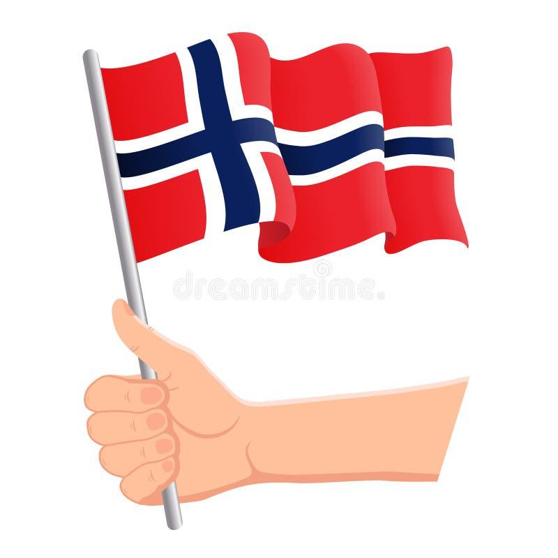 Χέρι που κρατά και που κυματίζει τη εθνική σημαία της Νορβηγίας Ανεμιστήρες, ημέρα της ανεξαρτησίας, πατριωτική έννοια r διανυσματική απεικόνιση