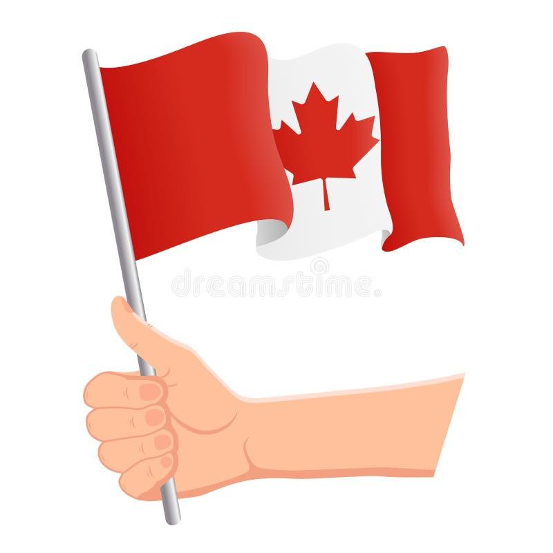 Χέρι που κρατά και που κυματίζει τη εθνική σημαία του Καναδά Ανεμιστήρες, ημέρα της ανεξαρτησίας, πατριωτική έννοια r διανυσματική απεικόνιση