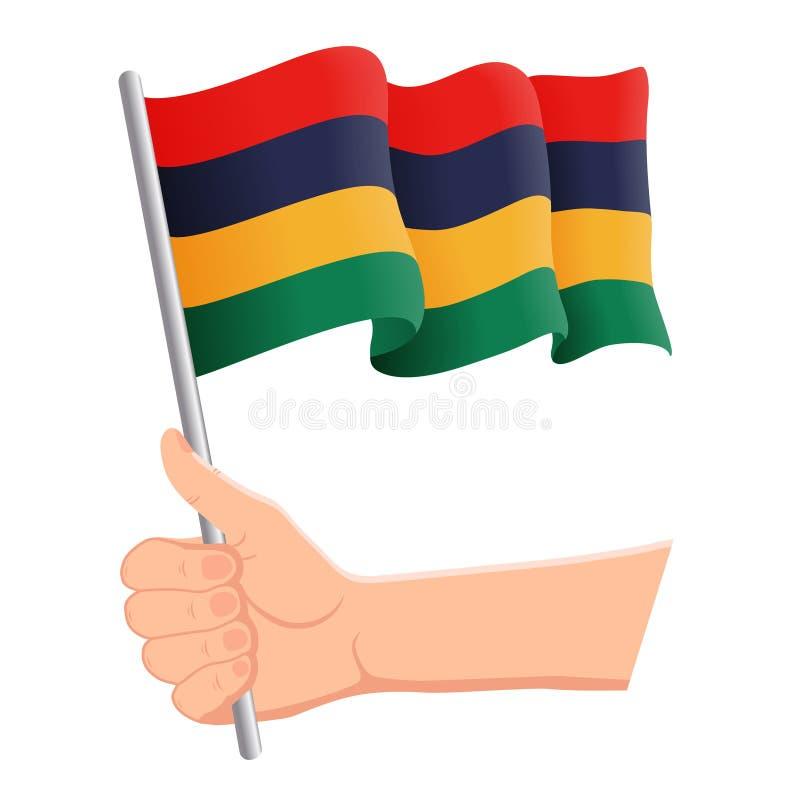 Χέρι που κρατά και που κυματίζει τη εθνική σημαία του Μαυρίκιου Ανεμιστήρες, ημέρα της ανεξαρτησίας, πατριωτική έννοια r ελεύθερη απεικόνιση δικαιώματος