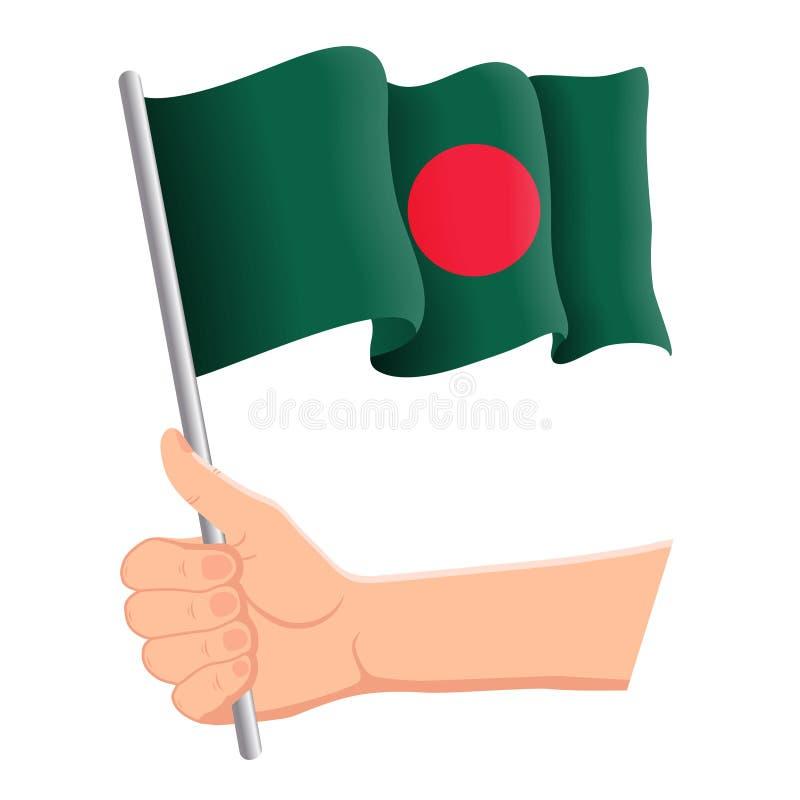 Χέρι που κρατά και που κυματίζει τη εθνική σημαία του Μπανγκλαντές Ανεμιστήρες, ημέρα της ανεξαρτησίας, πατριωτική έννοια r ελεύθερη απεικόνιση δικαιώματος