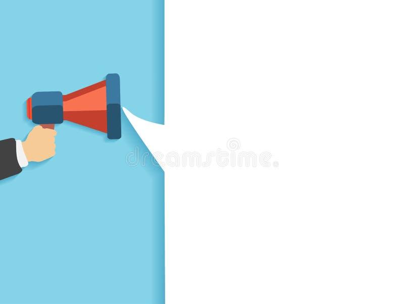 Χέρι που κρατά κόκκινο megaphone με τη φυσαλίδα διανυσματική απεικόνιση