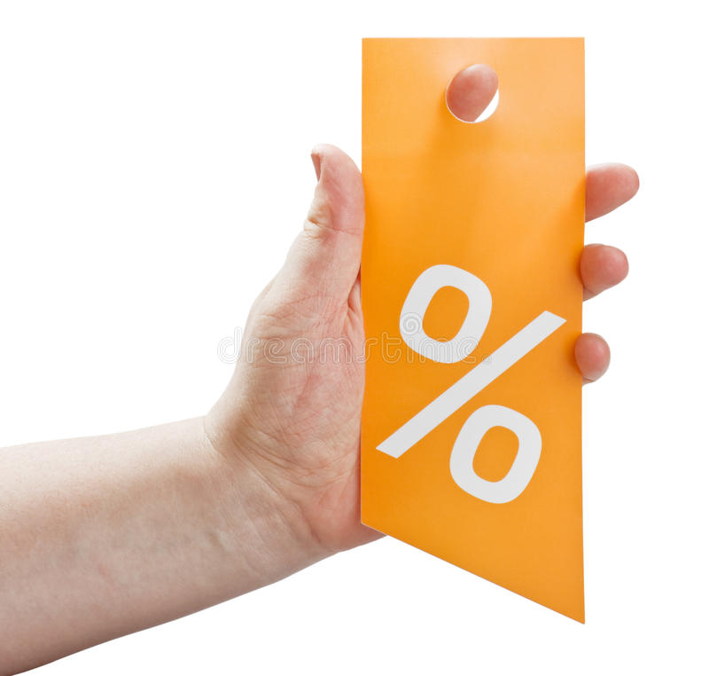 Χέρι που κρατά μια κάρτα για τις εκπτώσεις στοκ εικόνες
