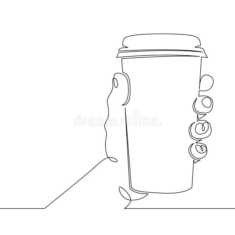 Χέρι που κρατά μια κούπα γυαλιού με τον καυτό καφέ διανυσματική απεικόνιση