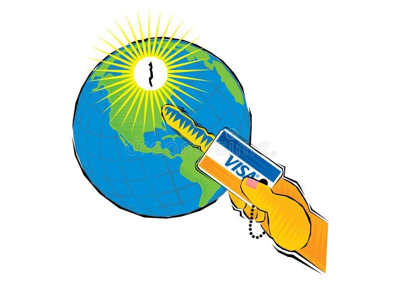 Χέρι που κρατά μια πιστωτική κάρτα ως κλειδί στον ανοικτό σφαιρικό γήινο πλανήτη απεικόνιση αποθεμάτων