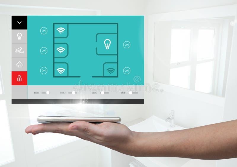 Χέρι που κρατά μια App συστημάτων αυτοματοποίησης ταμπλετών και σπιτιών διεπαφή απεικόνιση αποθεμάτων