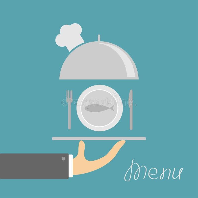 Χέρι που κρατά την ασημένια πιατέλα cloche με το καπέλο αρχιμαγείρων και τα ψάρια πιάτων, δίκρανο, μαχαίρι Κάρτα επιλογών πρόσκλη ελεύθερη απεικόνιση δικαιώματος
