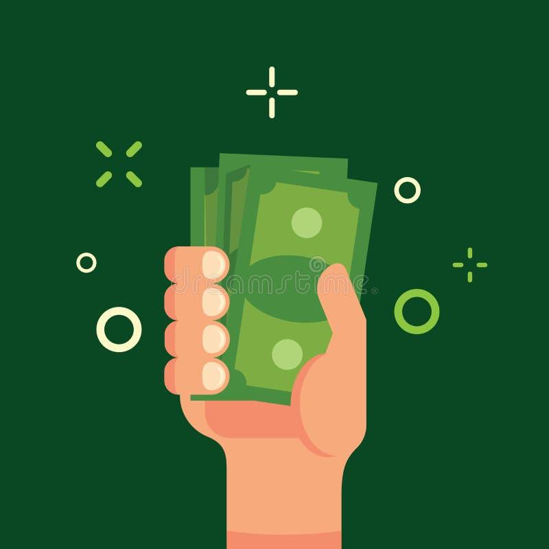 Χέρι που κρατά την πράσινη επίπεδη διανυσματική απεικόνιση χρημάτων Δέσμη των χρημάτων στο αρσενικό χέρι Εισόδημα, χρηματοδότηση, απεικόνιση αποθεμάτων