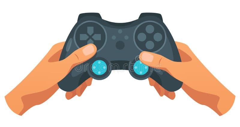 Χέρι που κρατά τον ασύρματο ελεγκτή παιχνιδιών διανυσματική απεικόνιση