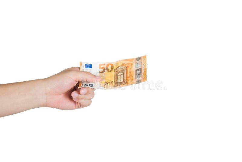 Χέρι που κρατά τον ευρο- λογαριασμό πενήντα σε διαθεσιμότητα απομονωμένο στο άσπρο backgroun στοκ φωτογραφίες με δικαίωμα ελεύθερης χρήσης