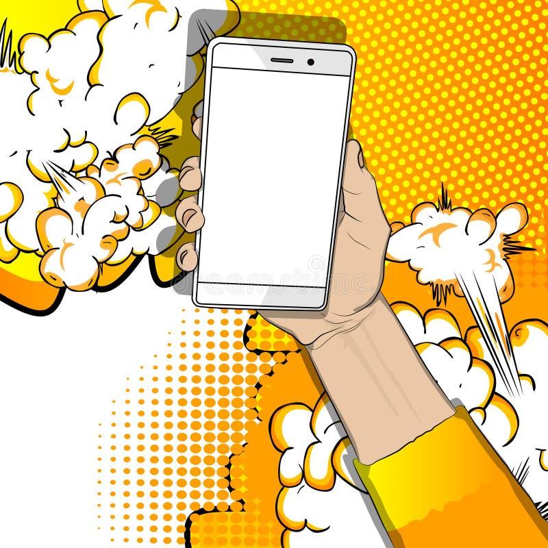 Χέρι που κρατά το άσπρο κινητό τηλέφωνο με την άσπρη οθόνη ελεύθερη απεικόνιση δικαιώματος