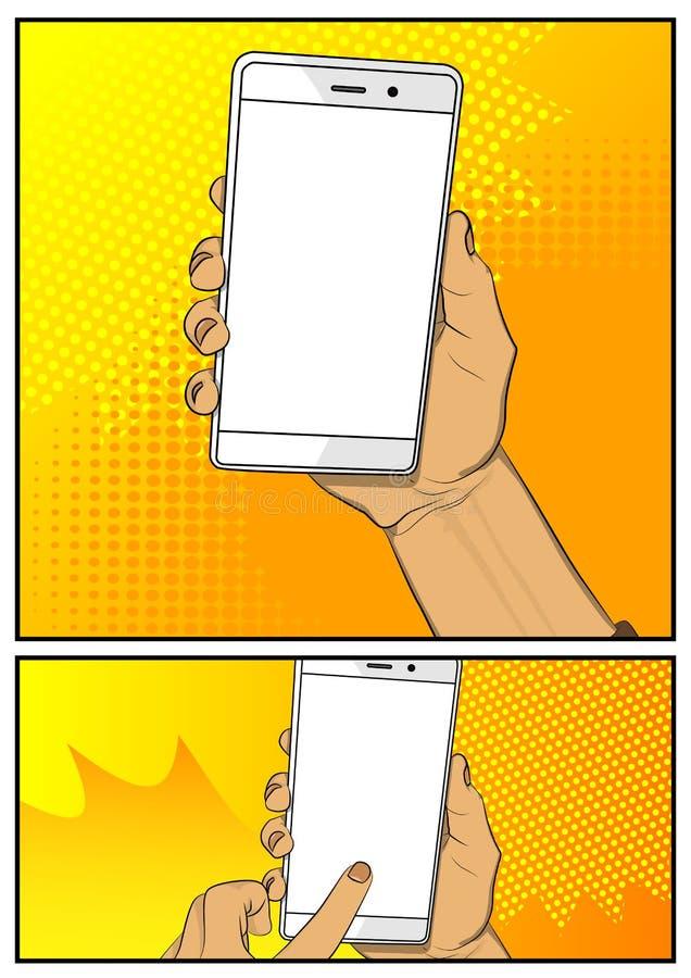 Χέρι που κρατά το άσπρο κινητό τηλέφωνο με την άσπρη οθόνη απεικόνιση αποθεμάτων