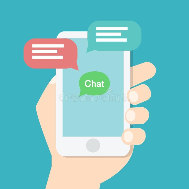 Χέρι που κρατά το έξυπνο τηλέφωνο με την εφαρμογή συνομιλίας στην οθόνη ελεύθερη απεικόνιση δικαιώματος