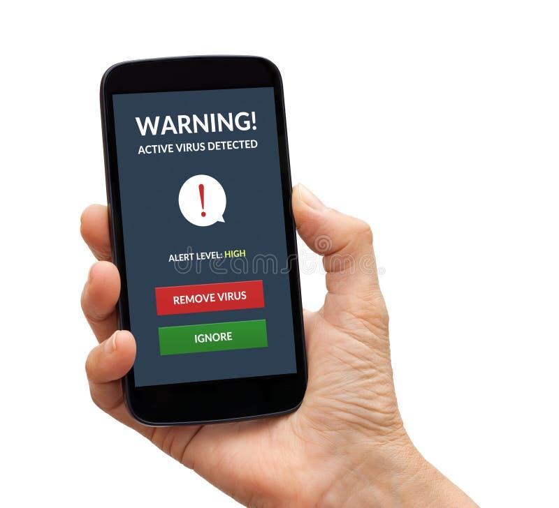 Χέρι που κρατά το έξυπνο τηλέφωνο με τον ιό άγρυπνο στην οθόνη στοκ φωτογραφία με δικαίωμα ελεύθερης χρήσης