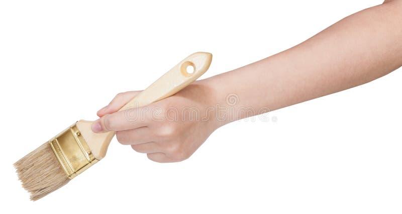 Χέρι που κρατά το καθαρό επίπεδο πινέλο απομονωμένο στοκ εικόνα