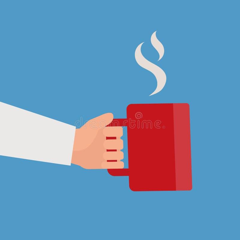 Χέρι που κρατά το κόκκινο φλυτζάνι του ζεστού ποτού απεικόνιση αποθεμάτων
