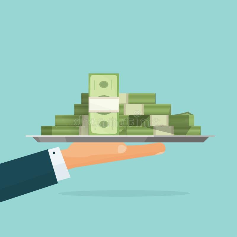 Χέρι που κρατά το μεγάλο σωρό του διανύσματος μετρητών χρημάτων, μισθός δανείου διανυσματική απεικόνιση