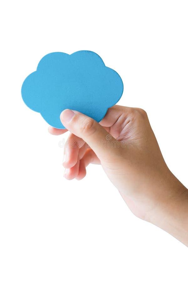 Χέρι που κρατά το μπλε σύννεφο απομονωμένο στοκ εικόνες