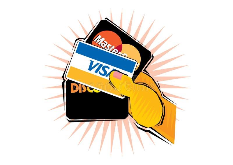 Χέρι που κρατά τρεις πιστωτικές κάρτες ελεύθερη απεικόνιση δικαιώματος