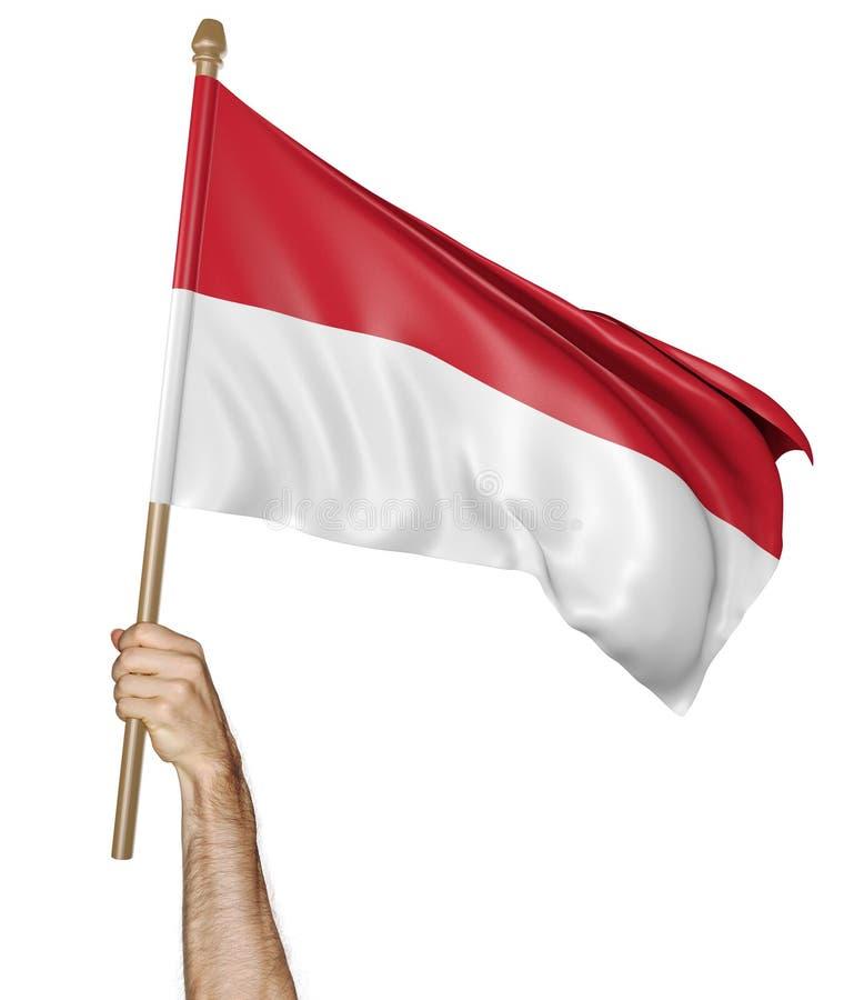 Χέρι που κυματίζει υπερήφανα τη εθνική σημαία της Ινδονησίας διανυσματική απεικόνιση