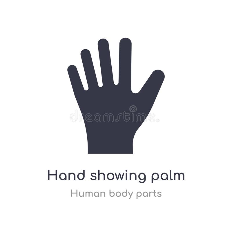 χέρι που παρουσιάζει εικονίδιο περιλήψεων παλαμών απομονωμένη διανυσματική απεικόνιση γραμμών από τη συλλογή μερών ανθρώπινων σωμ διανυσματική απεικόνιση