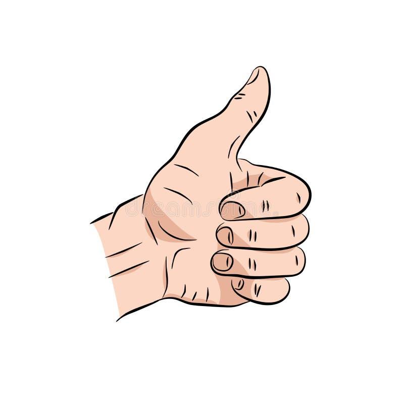 Χέρι που παρουσιάζει σύμβολο όπως Παραγωγή του αντίχειρα επάνω στη χειρονομία Διανυσματική απεικόνιση που απομονώνεται σε ένα μπλ διανυσματική απεικόνιση