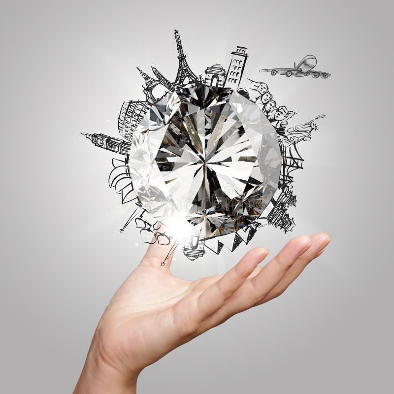 Χέρι που παρουσιάζει τρισδιάστατο διαμάντι με το ταξίδι ονείρου στοκ εικόνες