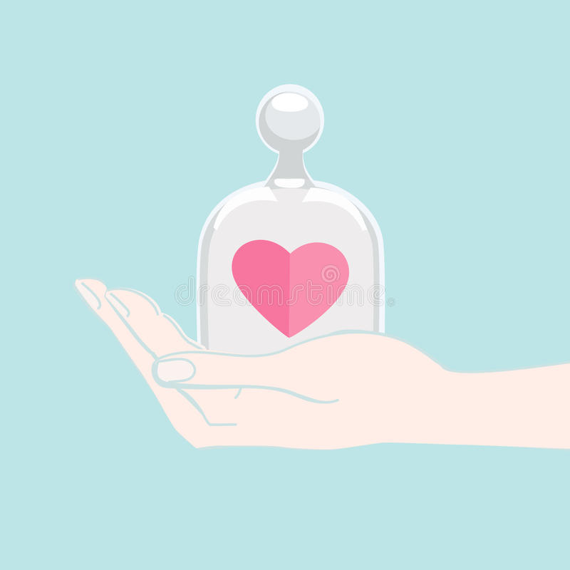 Χέρι που προσφέρει μια καρδιά κάτω από μια κάλυψη γυαλιού διανυσματική απεικόνιση