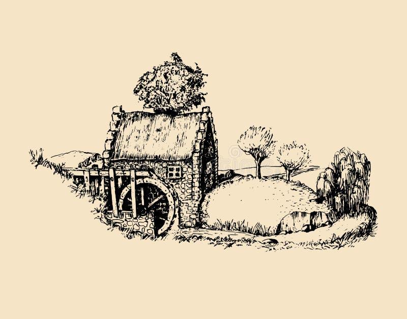 Χέρι που σκιαγραφείται του παλαιού αγροτικού υδρομύλου Διανυσματική αγροτική απεικόνιση τοπίων της ιρλανδικής επαρχίας ή των σκωτ απεικόνιση αποθεμάτων