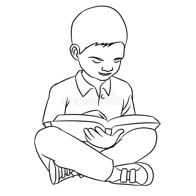 Χέρι που σύρει την ανάγνωση αγοριών Α - διανυσματική απεικόνιση ελεύθερη απεικόνιση δικαιώματος
