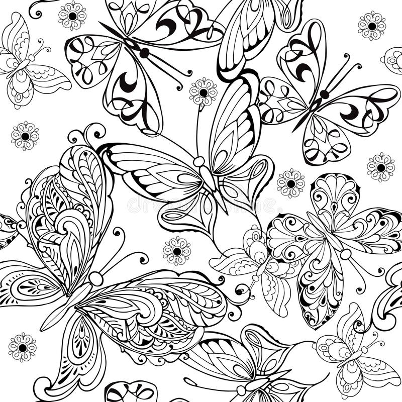 Χέρι που σύρει το άνευ ραφής σχέδιο των πεταλούδων Διανυσματικό άνευ ραφής σχέδιο των πεταλούδων για τη χρωματίζοντας σελίδα αντι απεικόνιση αποθεμάτων