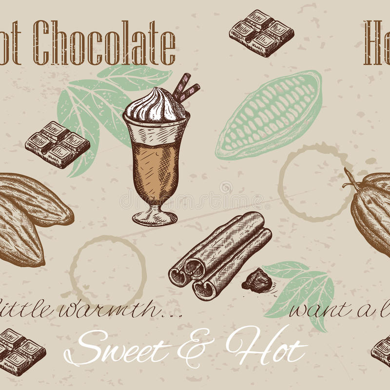 Χέρι που σύρει το άνευ ραφής σχέδιο των φασολιών κακάου, σοκολάτα, φλυτζάνι της καυτής σοκολάτας, κανέλα διανυσματική απεικόνιση