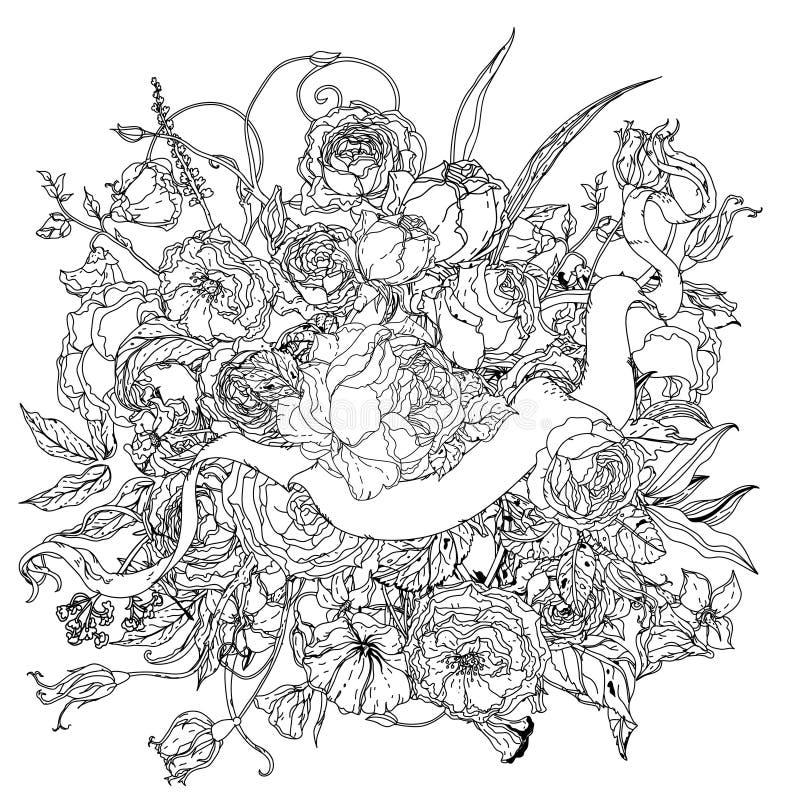 Χέρι που σύρει το εραλδικό διακοσμητικό πλαίσιο μαύρο λευκό Λουλούδι Mandala ελεύθερη απεικόνιση δικαιώματος