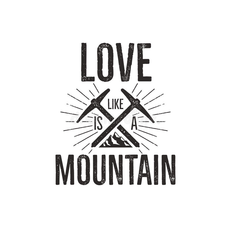 Χέρι που σύρεται αναρρίχηση του εκλεκτής ποιότητας σχεδίου πουκάμισων γραμμάτων Τ ετικετών Το διακριτικό ταξιδιού με το βουνό, αν απεικόνιση αποθεμάτων