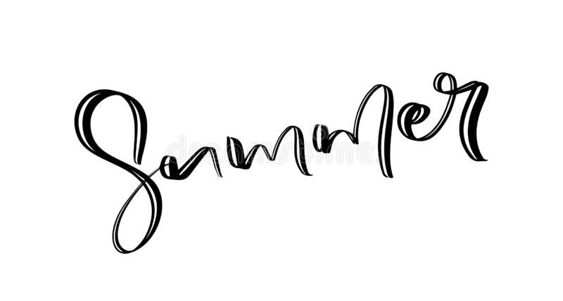 Χέρι που σύρεται γραμμένο καλοκαίρι κειμένων Καλλιγραφική επιγραφή εποχής Διανυσματική χειρόγραφη τυπογραφία απεικόνιση αποθεμάτων