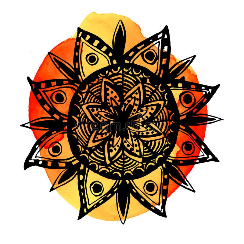 Χέρι που σύρεται γύρω από το σύμβολο mandala Περίκομψο διάνυσμα απεικόνιση αποθεμάτων