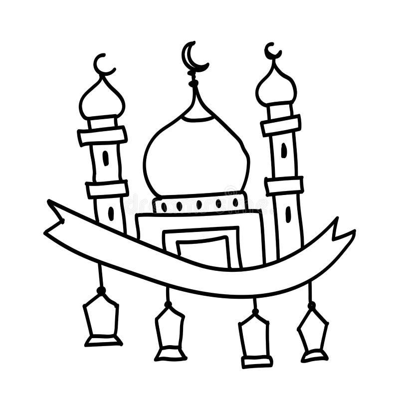 Χέρι που σύρεται του μουσουλμανικού τεμένους με το φανάρι-διανυσματικό σχέδιο απεικόνιση αποθεμάτων