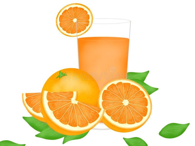 Χέρι που σύρεται του φρέσκου πορτοκαλιού με το χυμό από πορτοκάλι στα γυαλιά που απομονώνονται απεικόνιση αποθεμάτων