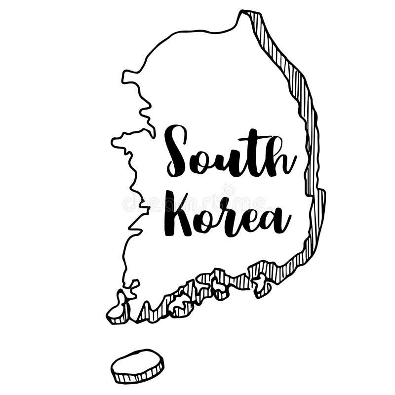 Χέρι που σύρεται του χάρτη της Νότιας Κορέας, διανυσματική απεικόνιση διανυσματική απεικόνιση