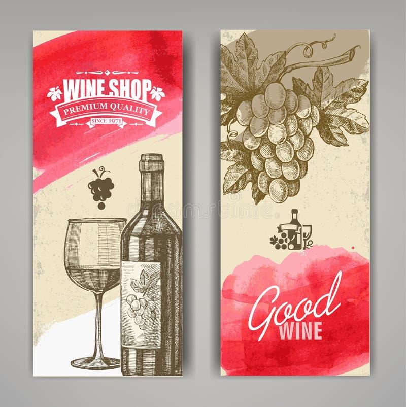 Χέρι που σύρεται των εμβλημάτων κρασιού ελεύθερη απεικόνιση δικαιώματος